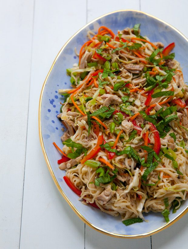 Spicy Rice Noodle Salad with Chicken and Crunchy Veggies