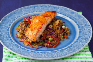 Thai Chili Glazed Salmon with Rainbow Veggie Fried Rice