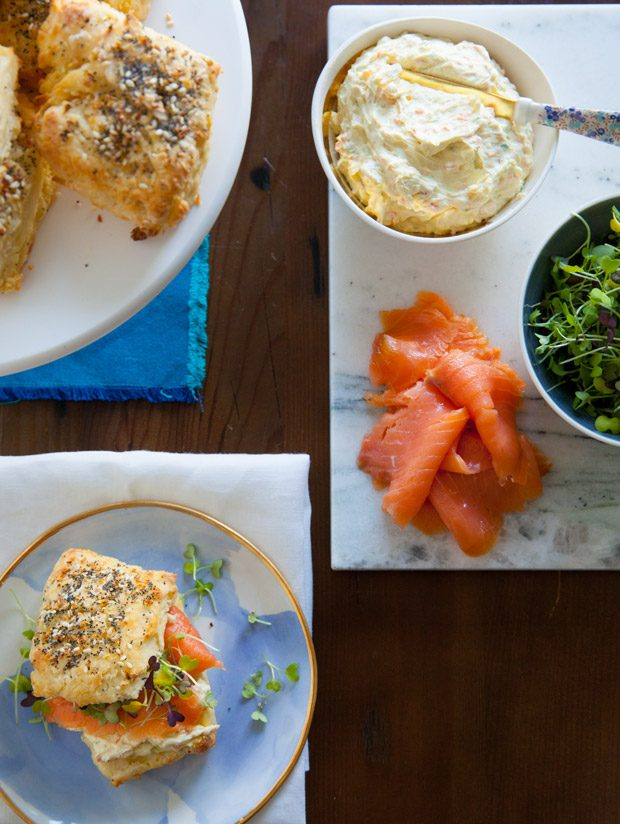 Everything Biscuits with Smoked Salmon and Veggie Cream Cheese