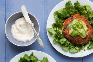 Salmon Burgers with Fresh Herbs and Pickled Cucumbers