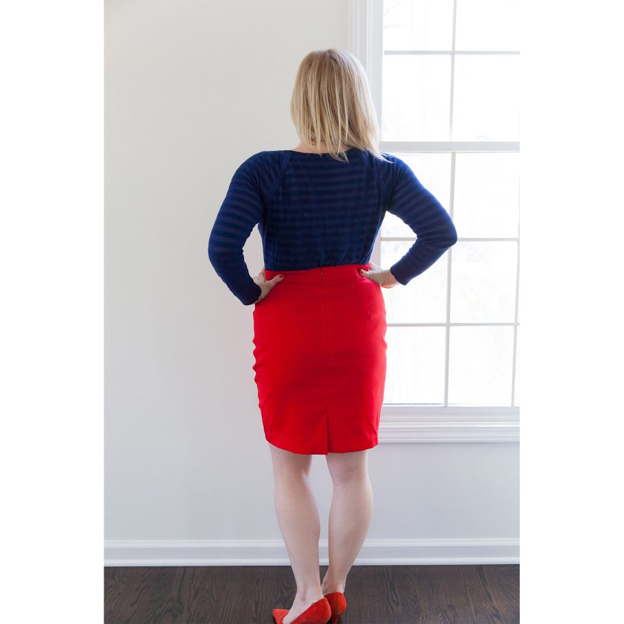 Red Pencil Skirt - Back