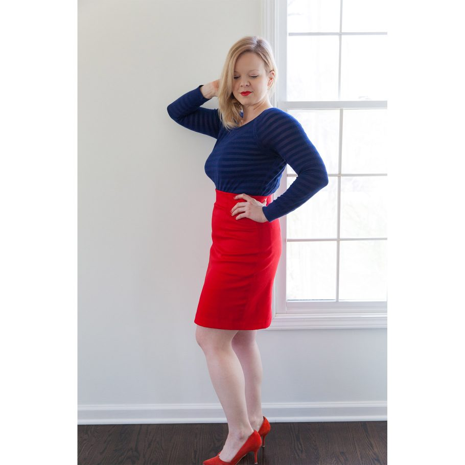 Red Pencil Skirt - Side