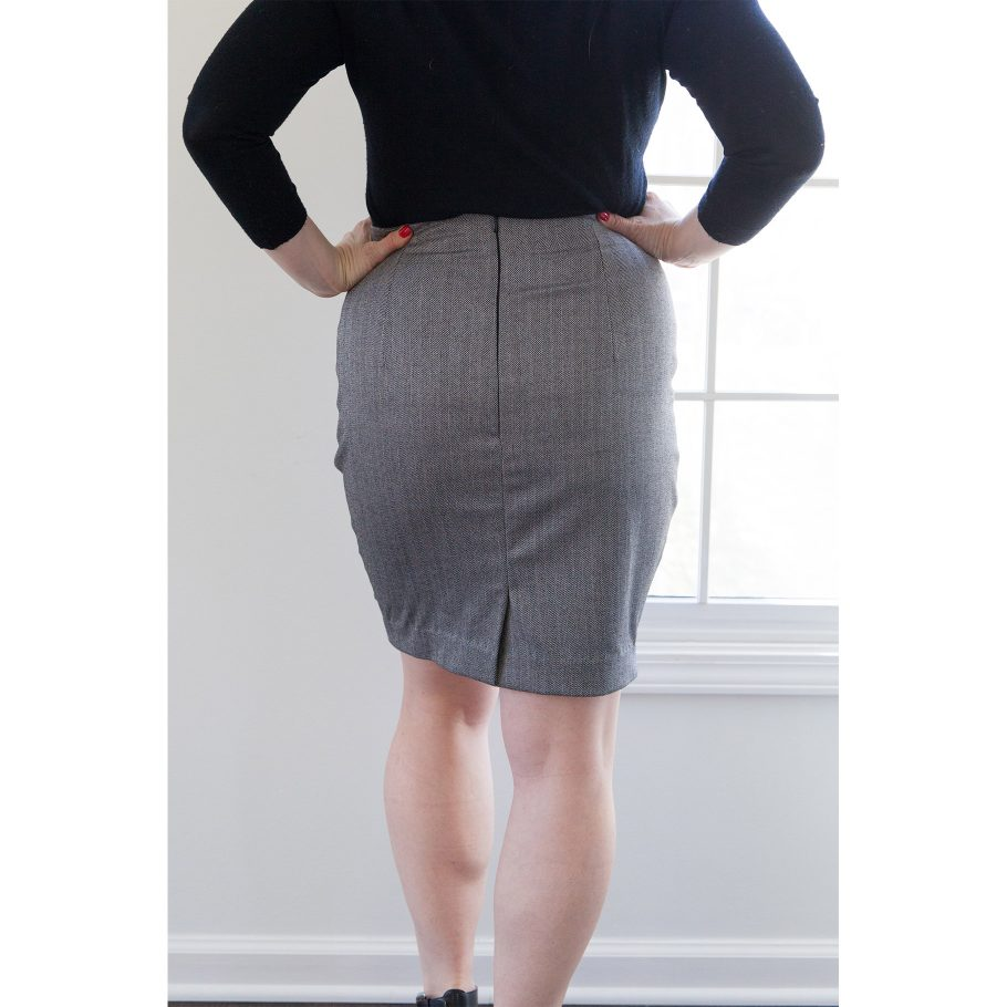 Gray Pencil Skirt - Back, Closer View