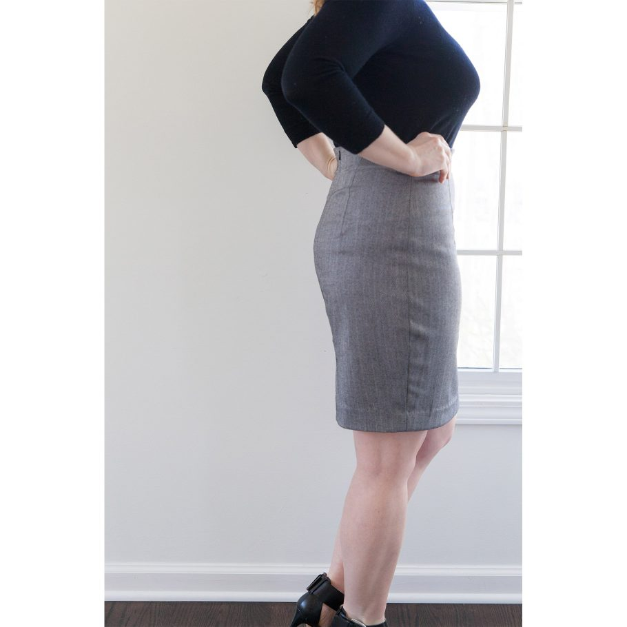 Gray Pencil Skirt - Side