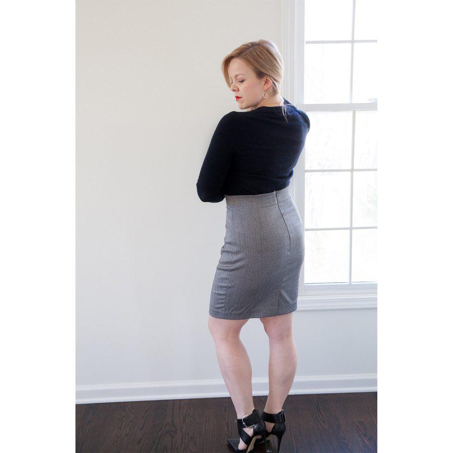 Gray Pencil Skirt - Back
