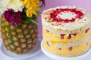 Coconut Passion Fruit Raspberry Layer Cake
