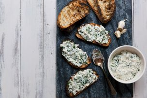 Creamy Grilled Kale Toasts
