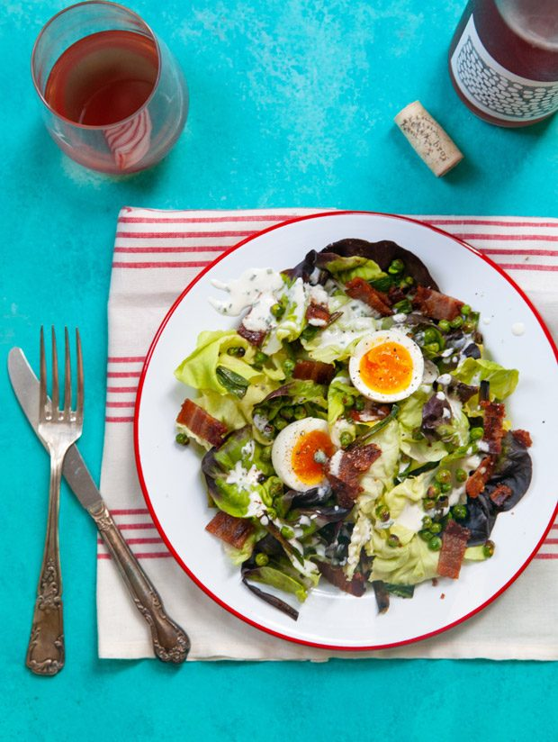 Bacon and Egg Salad with Crispy Peas and Scallions