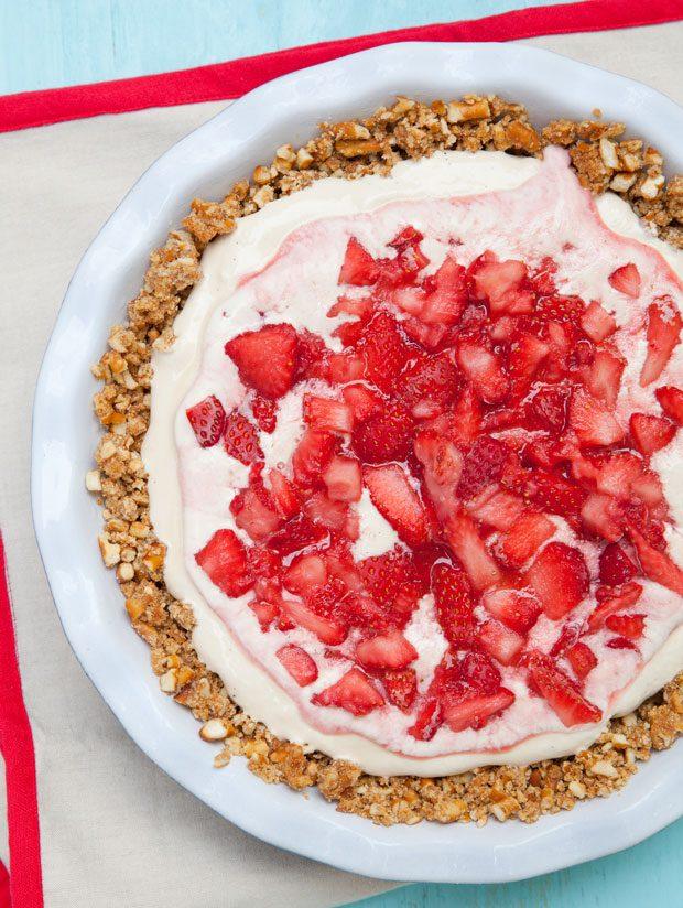Strawberry Pretzel Ice Cream Pie
