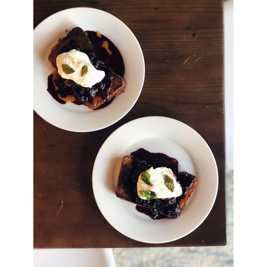 Brioche French Toast with Blueberry Compote and Brown Butter Sauce