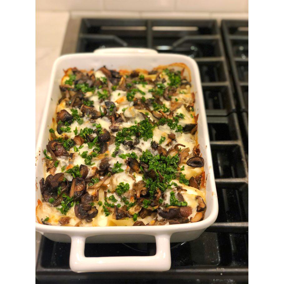 Ricotta Stuffed Shells with Burrata, Mushrooms, and Herbs