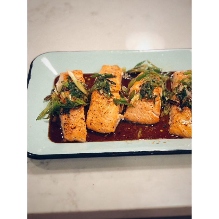 Salmon with Soy and Citrusy Charred Scallions