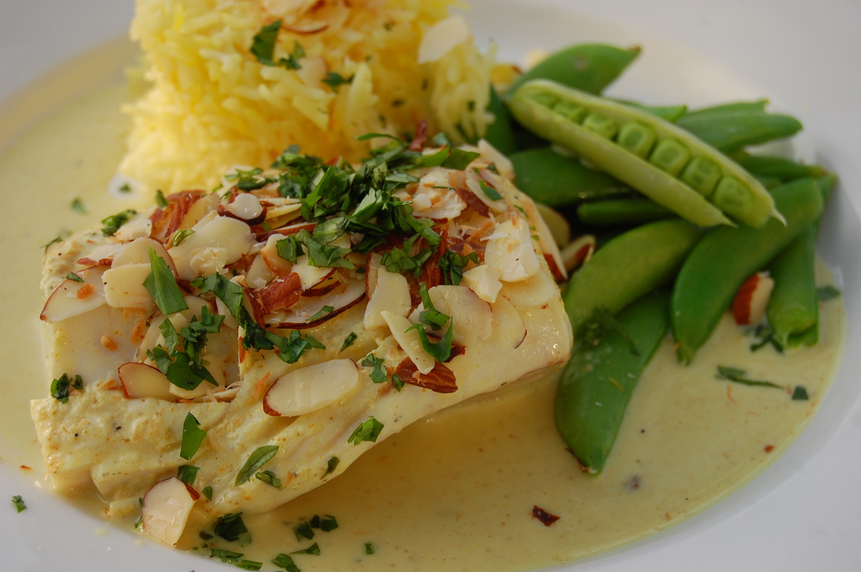 Sous vide wahoo with coconut curry and almonds for Wahoo fish recipes