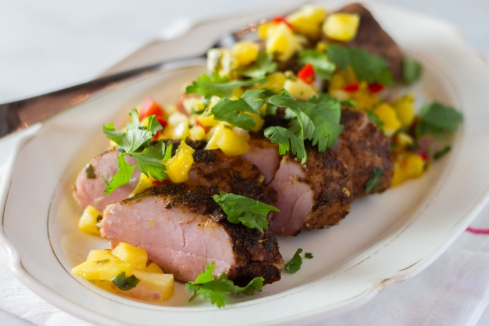Sous Vide Jerk Pork Tenderloin With Mango Salsa