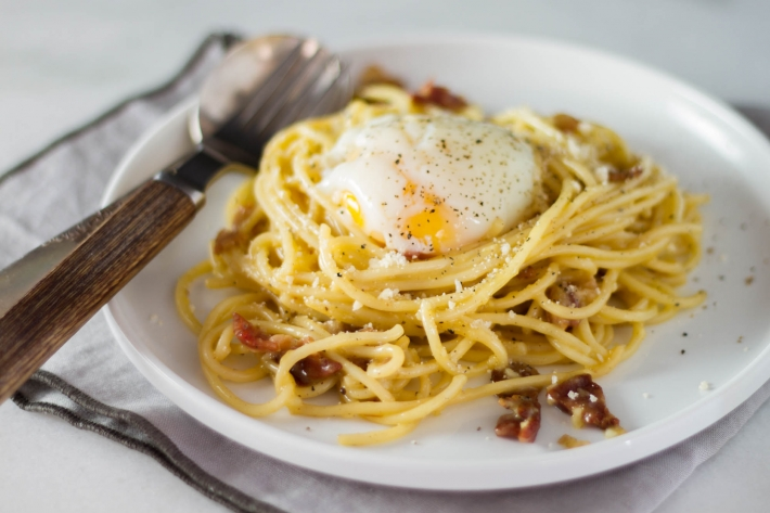 Spaghetti Carbonara With Sous Vide Poached Egg
