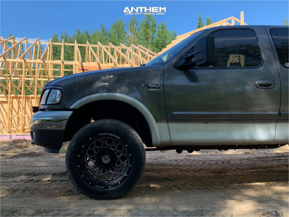 5 2002 F 150 Ford Rough Country Leveling Kit Anthem Off Road Avenger Black Milled