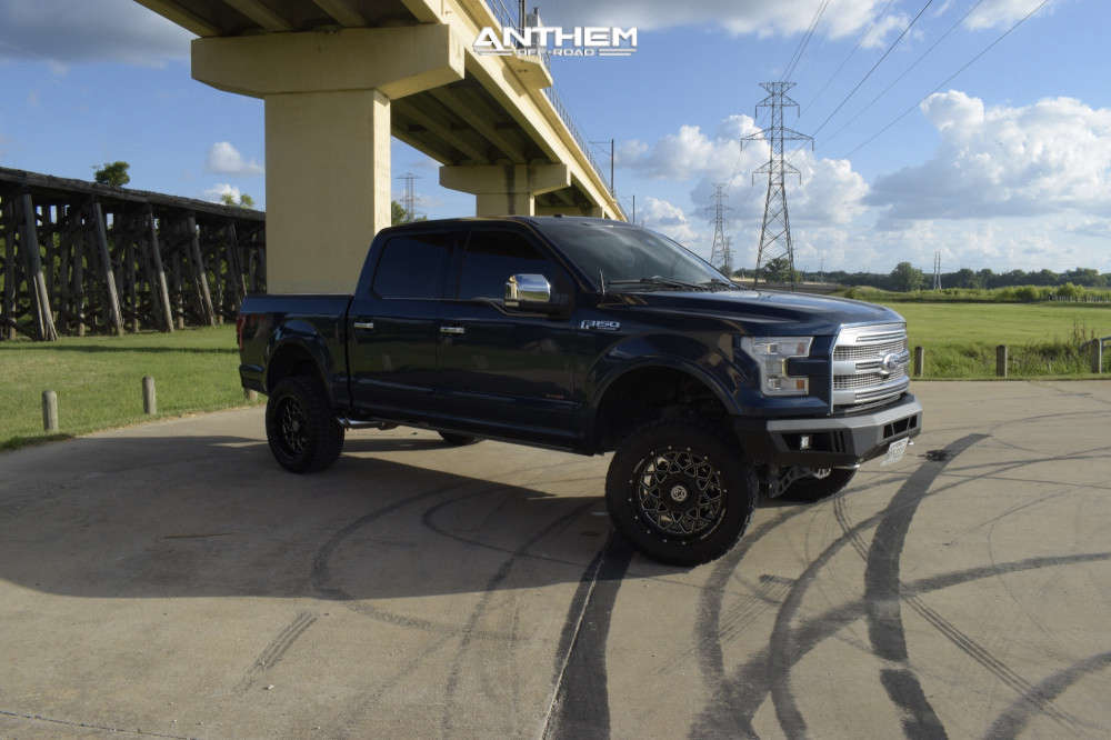 4 2016 F 150 Ford Rough Country Suspension Lift 4in Anthem Off Road Avenger Machined Black