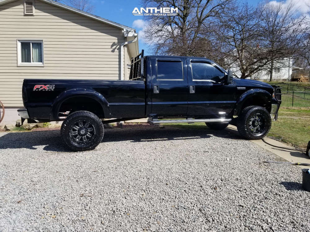 8 2005 F 250 Super Duty Ford Rough Country Suspension Lift 6in Anthem Off Road Enforcer Black