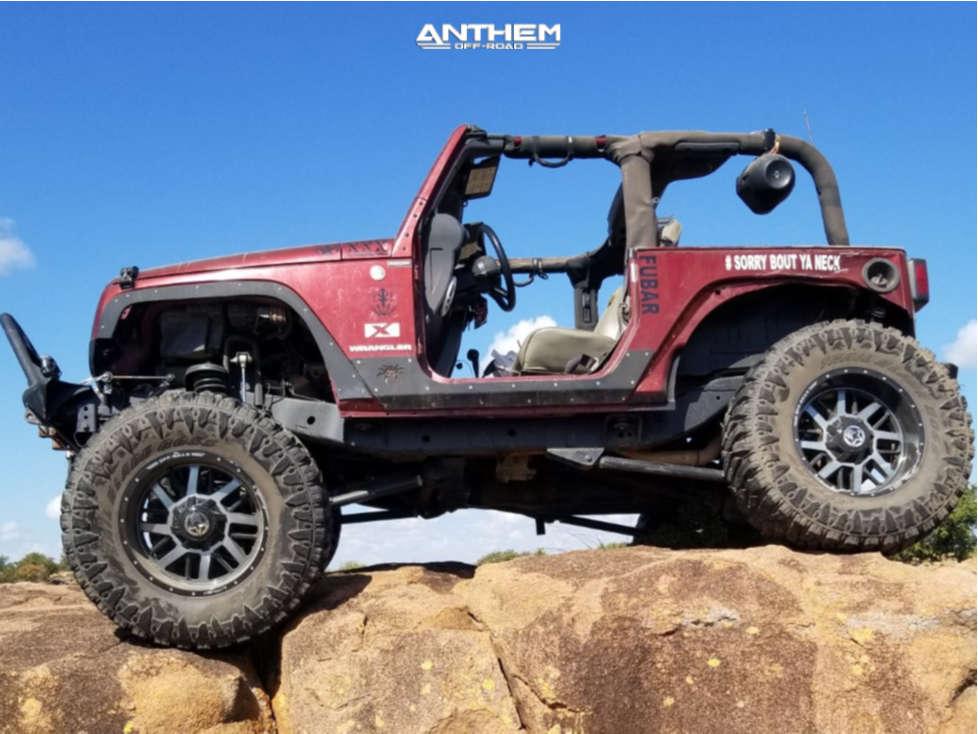 10 2008 Wrangler Jeep X Custom Suspension Lift 85in Anthem Off Road Gunner Machined Black