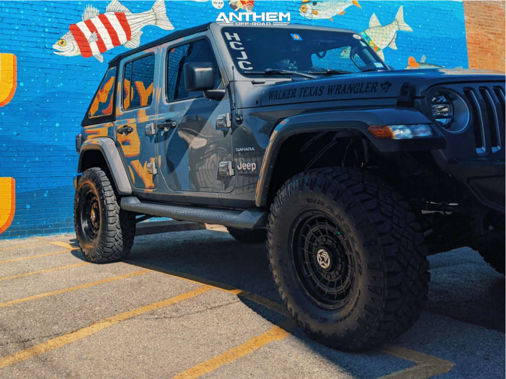4 2018 Wrangler Jeep Unlimited Sahara Teraflex Suspension Lift 25in Anthem Off Road Viper Matte Black