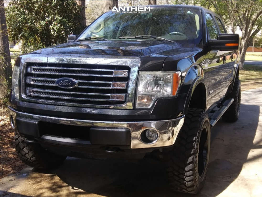 15 2013 F 150 Ford Rough Country Suspension Lift 6in Anthem Off Road Gunner Black Milled