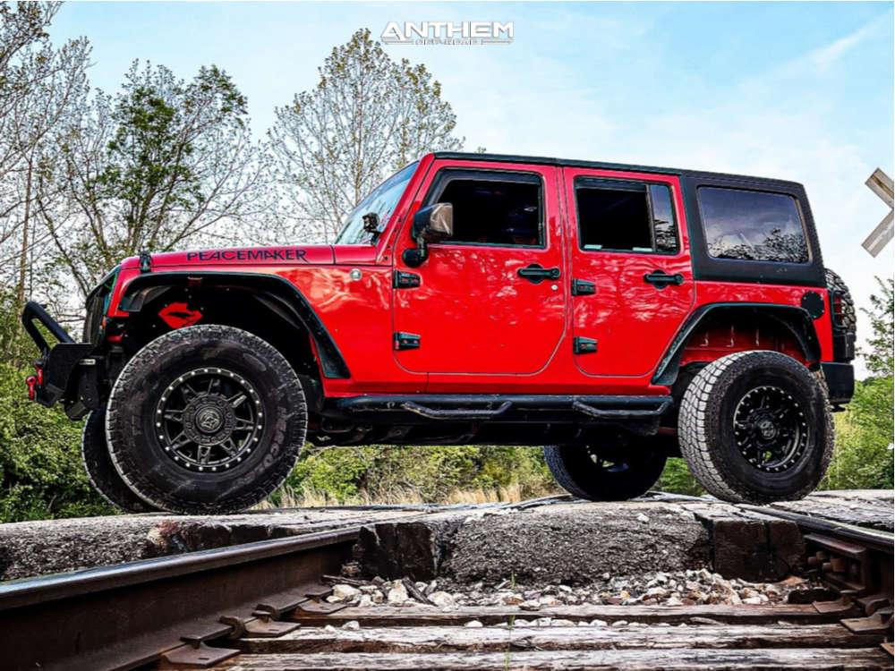 1 2011 Wrangler Jeep Unlimited Sport Rock Krawler Suspension Lift 25in Anthem Off Road Rogue Black