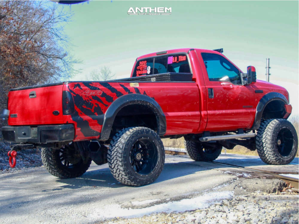 4 2006 F 250 Super Duty Ford Rough Country Suspension Lift 6in Anthem Equalizer Matte Black