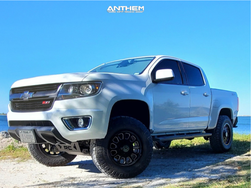 12 2015 Colorado Chevrolet Rough Country Suspension Lift 4in Anthem Off Road Intimidator Machined Accents