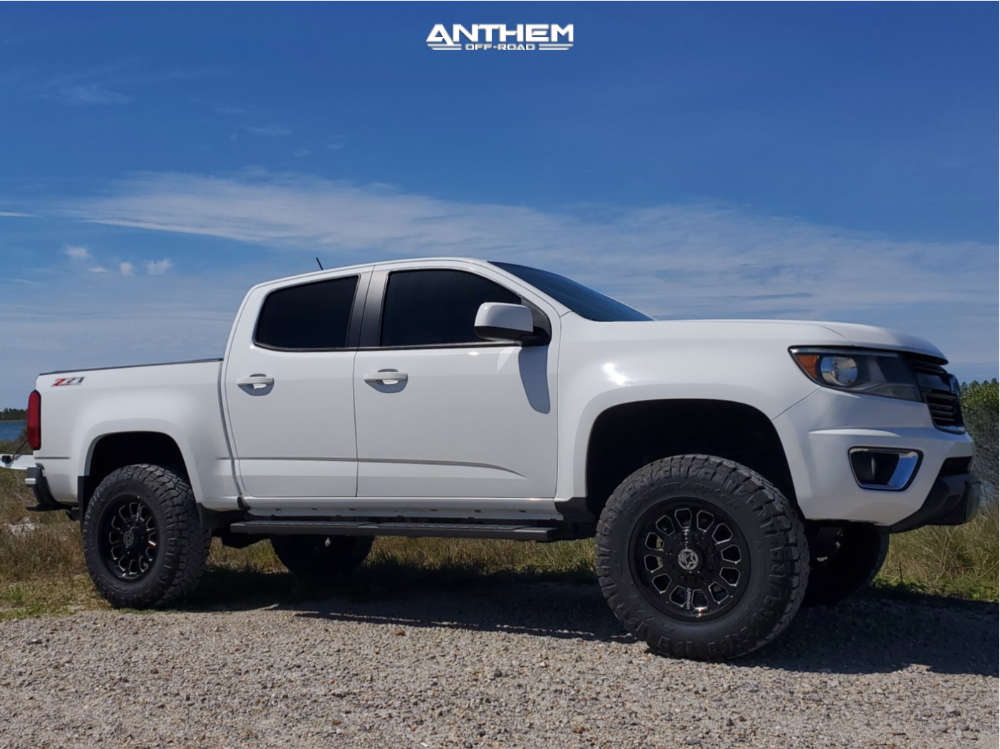 16 2015 Colorado Chevrolet Rough Country Suspension Lift 4in Anthem Off Road Intimidator Machined Accents