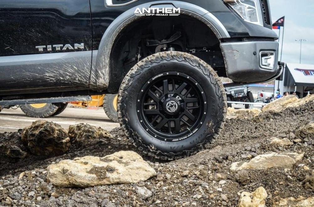 5 2017 Titan Nissan Rough Country Suspension Lift 6in Anthem Off Road Gunner Matte Black