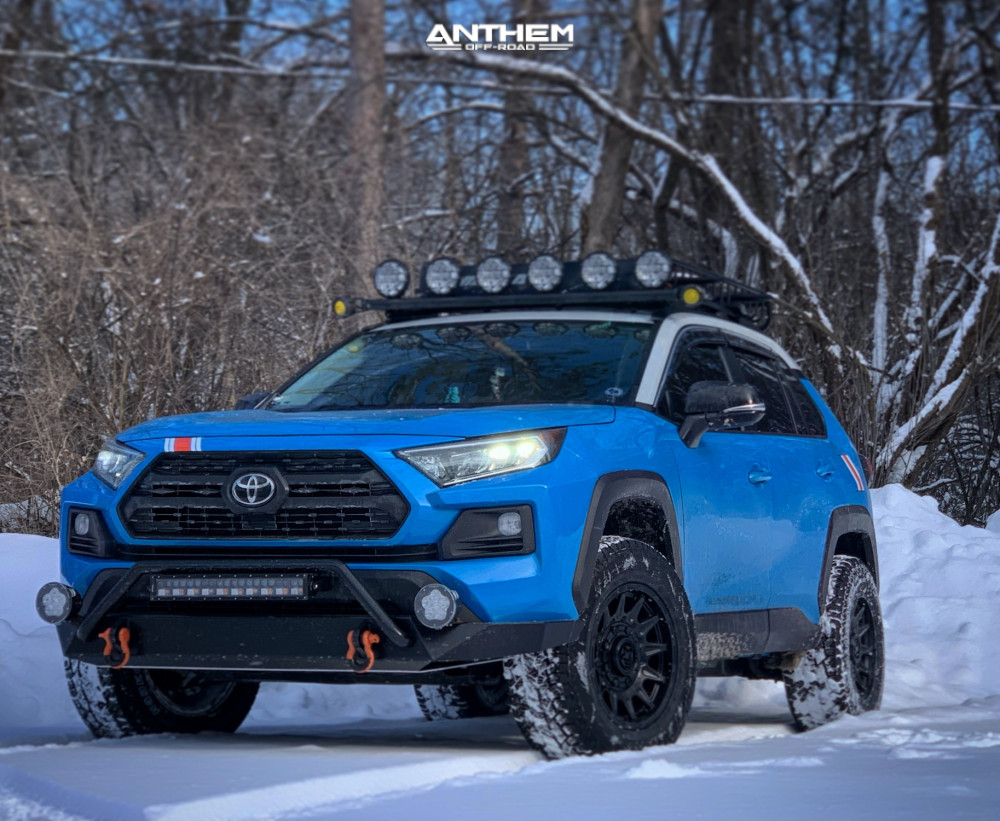 1 2019 Rav4 Toyota Rough Country Suspension Lift 35in Anthem Off Road Liberty Matte Black