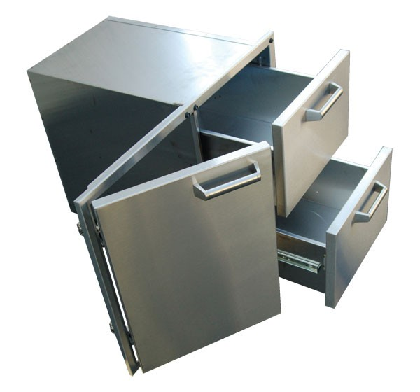 Pcm 36 stainless steel door 2 drawer combo affordable for Stainless steel drawers kitchen