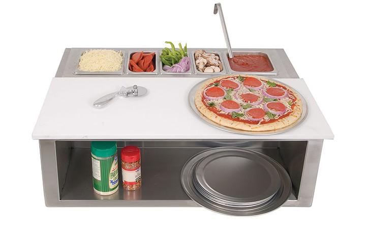 Alfresco Pizza Prep Garnish Rail WFood Pans Affordable - Restaurant prep table cutting boards