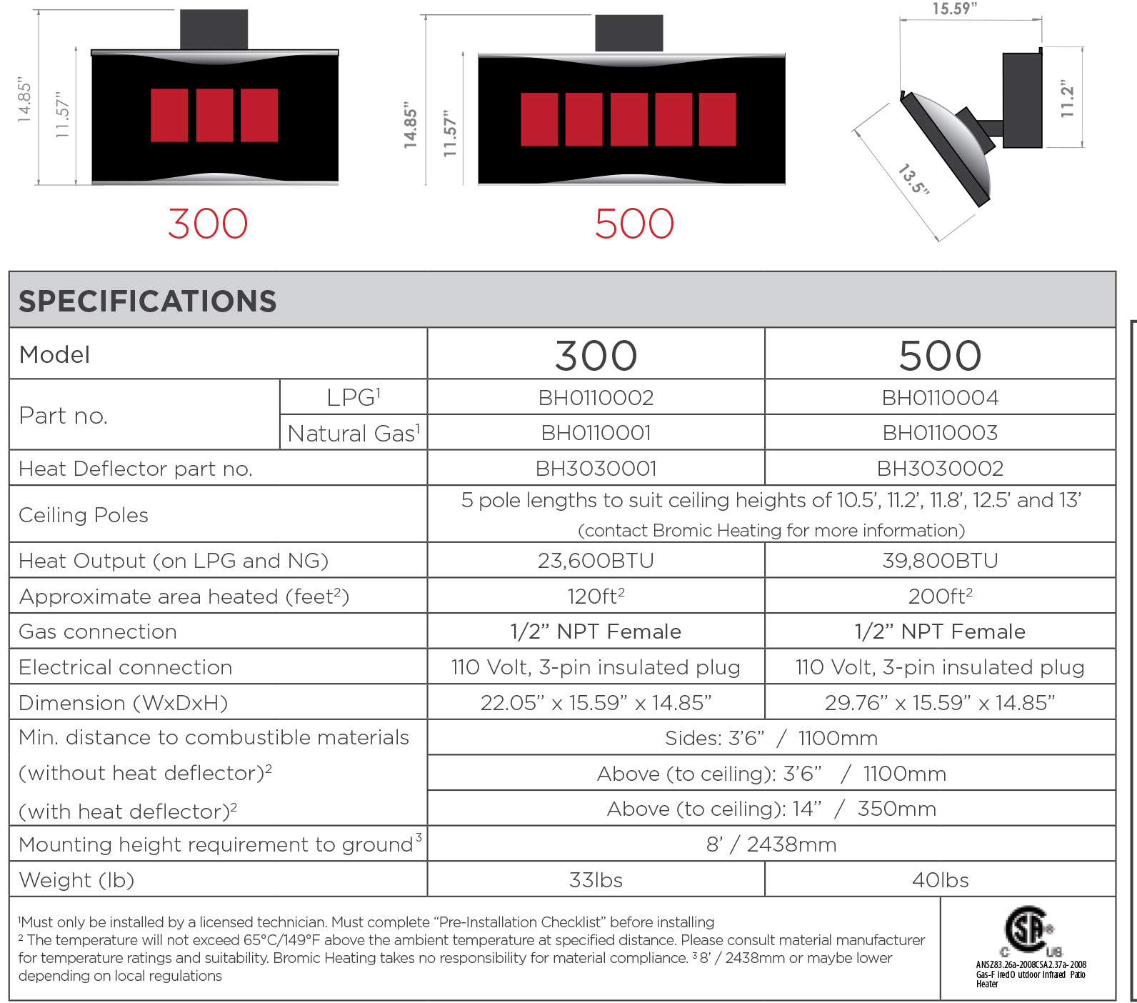 Bromic Platinum Smart Heat Gas Heater 300 Series