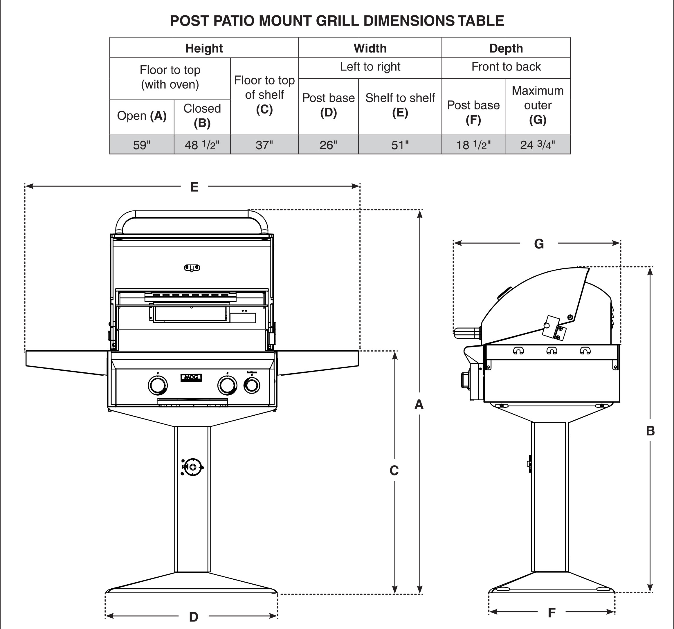 AOG T-Series 24-Inch Gas Grill On In-Ground Post