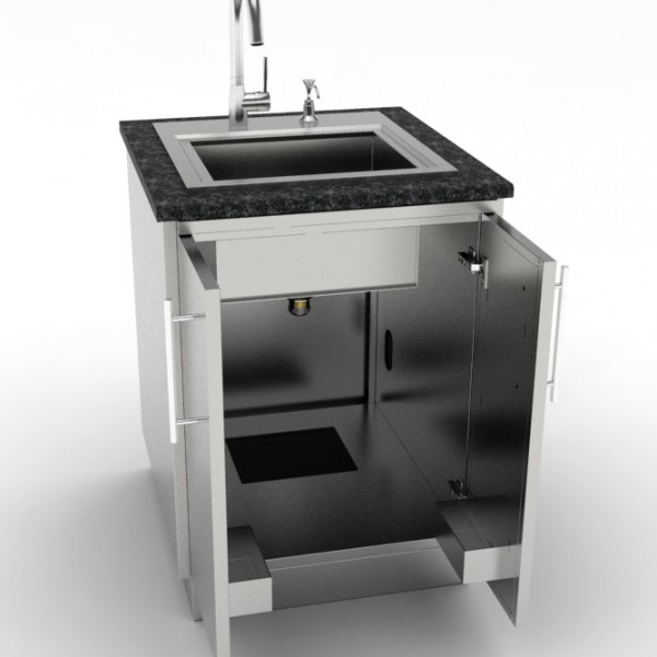 24 full double door base sink cabinet affordable for Outdoor kitchen sink and cabinet