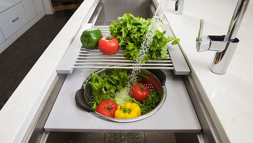 Galley-Ideal-Workstation-kitchen-sink-gray-resin-veggies-wash