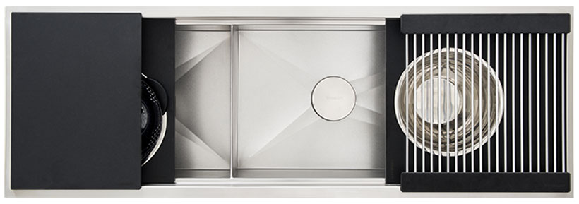 Ideal-Workstation-5-Double-Bowl-Graphite-Wood-Composite