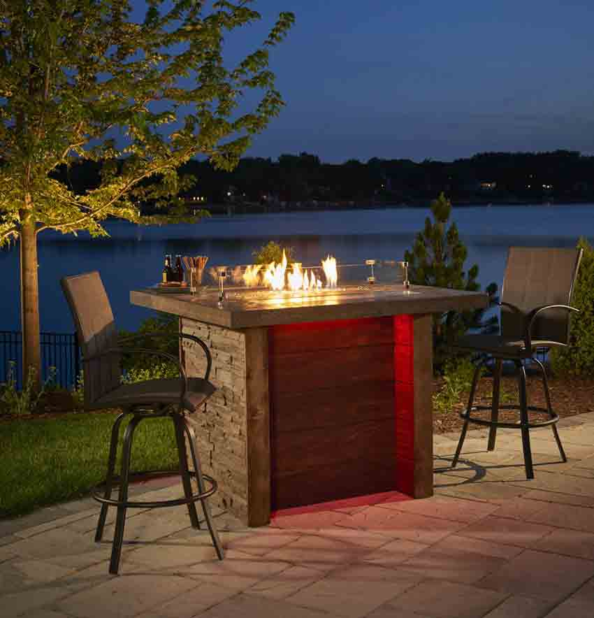 Marquee Pub Height Gas Fire Pit Table Affordable Outdoor Kitchens - Pub height fire pit table