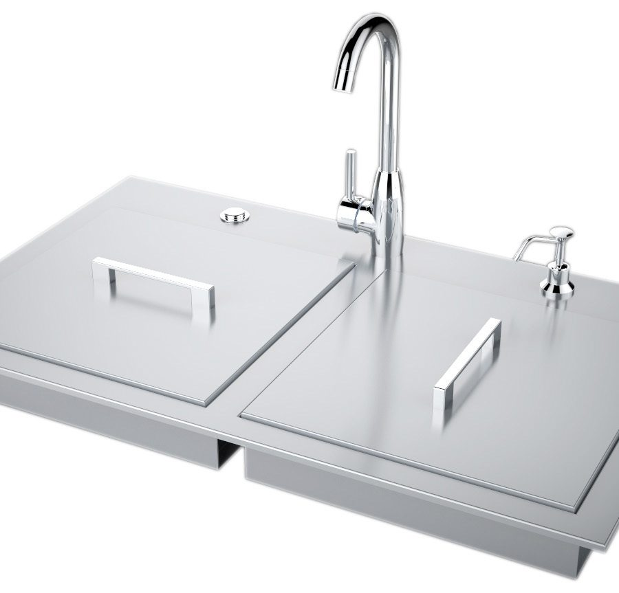 ADA Compliant Double Sink with Covers & Hot/Cold Faucet