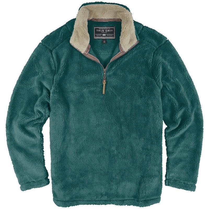 True Grit Pebble Pile ½ Zip Fleece Pullover - Water and Oak ...