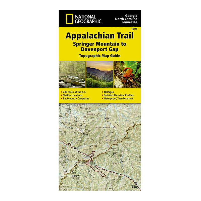 National Geographic Appalachian Trail Map Springer Mountain to
