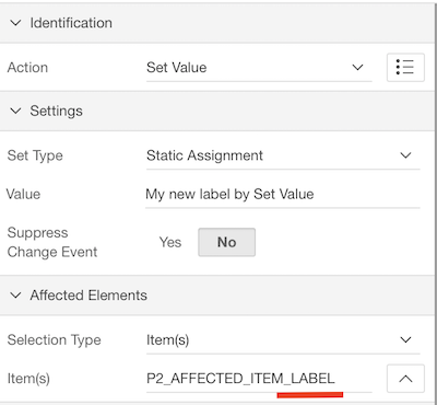 Use the Set Value dynamic action but add _LABEL to change the label of the item