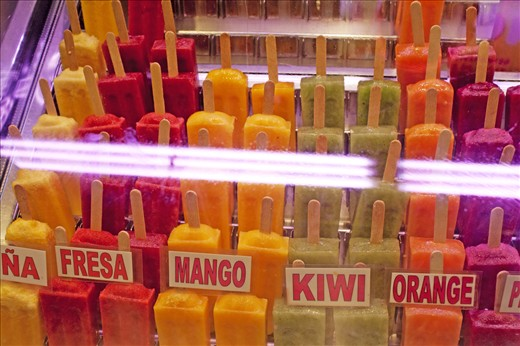 Colorful popsicles (some in flavors that I've never encountered before)  for sale in La Boqueria