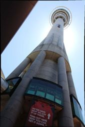Sky Tower.  Yes, that's a car hanging off the side of it.  The Kiwis sure know how to advertise.: by 2pter, Views[153]