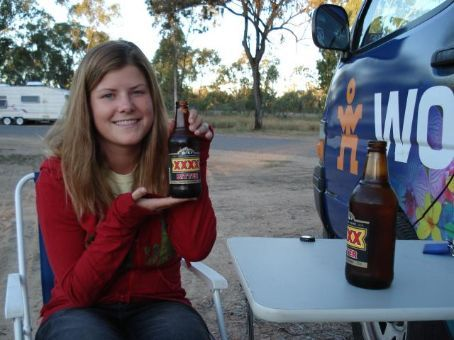 Val samples the local beer