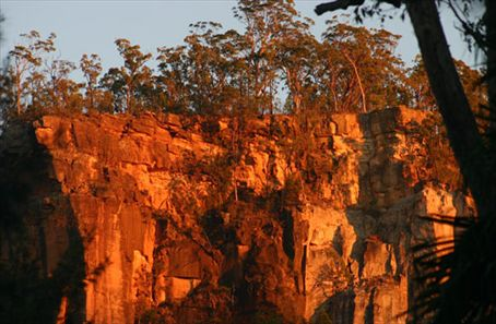 The gorge walls at first light.