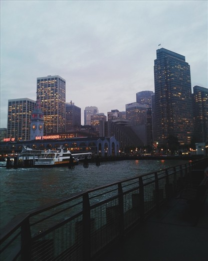The San Francisco Port is a popular place, from amateur sea adventurers to overly health conscious folks looking to drink vegetable smoothies at the weekly farmers market. Behind looms the cold financial district, waiting for its morning rush victims.   (Taken with smartphone)