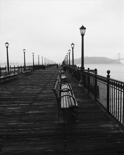 Pier 7 is almost constantly empty in the mornings, especially during cold and foggy mornings. This makes it a wonderful place to forget reality and become engulfed in the sound of waves and the occasional seagull flying overhead.   (Taken with smartphone)