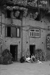 Village life - neighbours catching up surrounded by drying corn and chillies : by abbydk, Views[140]